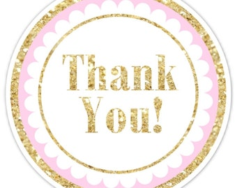 Gold and Pink Thank You Stickers, Gold Glitter Thank you Labels