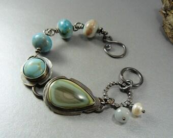 Turquoise Bracelet, Imperial Jasper, Amazonite, Sterling Silver, Art Jewelry, Artisan Bracelet, Ocean, Pearl, Pearls, Metalwork, Metalsmith