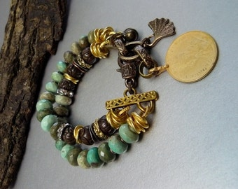 Natural Opal and Carved Wood Bracelet with Gold accents - Extra Large Lobster Claw Clasp - Adjustable - Charms - Coin - Ginkgo Leaf