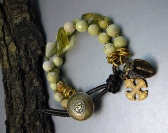 Unique Bold Lemon Chrysoprase and Citrine Nugget Charm  Bracelet - Antique Gold, Copper, and Brass Accents - Heart - Byzantine Cross Charm