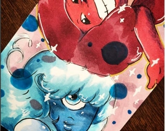 Art Trading Card Steven Universe Ruby and Sapphire Together Forever ACEO Original
