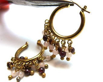 clearance -50% / D404GA / 8Pc / D18mm x 7Loops - Antique Gold Plated Chandelier Earrings with 7 Loops Findings