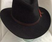 """Vintage black 100% wool """"Woolrich"""" western style hat"""