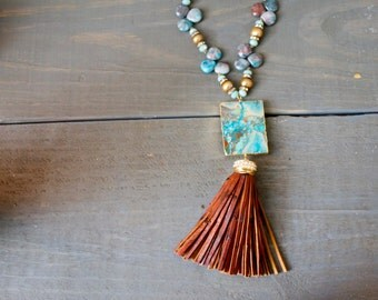 Long Tassel Necklace with Dragon's Eye Jasper and Pearl