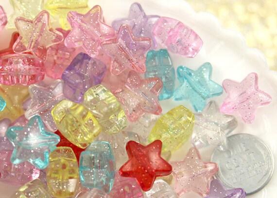 Glitter Star Beads - 15mm Pretty Pastel Glitter Plastic Star Beads - 50 pc set