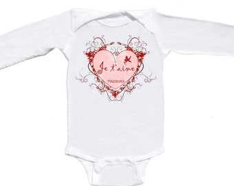 Je T'aime French Valentine Romper Long Sleeve by Mumsy Goose Newborn Bodysuits Je Taime or Te Amo Te Quiero