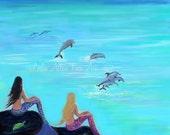 "Mermaid Art Print Mermaids Friends Sisters Dolphin Art Mermaid Wall Decor  ""High Tide Low Tide By Your Side""  Leslie Allen Fine Art Mermaid"
