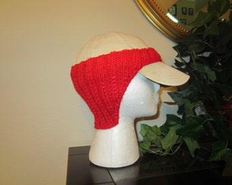 Orange Hand-Knit Baseball Cap Ear Warmer