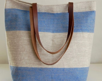 Blue Wide Stripe Linen Tote Bag with Leather Handles - READY TO SHIP