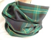 Green Plaid Infinity Scarf, Black and Green with Yellow, Tartan Scarf, Womens Scarf, Oversized Scarf, Free Shipping, Christmas Gift,