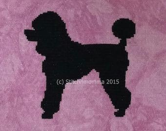 15012 Poodle Dog Silhouette - Original Design Cross Stitch PDF Pattern - DIGITAL DOWNLOAD