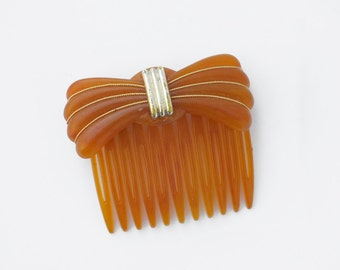 Vintage Bow Hair Comb - Butterscotch Gold Bow Decorative Comb - Lucite Plastic Hair Comb - 70s Womens Girl Fashion Accessory