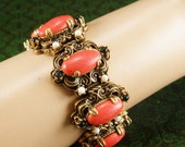 """Vintage Coral Pearl baroque Bracelet Green stones and layers of gold fancy metal work victorian revival with original chain 6 3/4"""" long"""