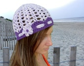 City Park Beanie - In Designer Stretchy Cotton Yarn - in Springtime Lavender and Purple
