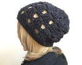 Dark Windows -  Open Stitch Slouchy Beanie - in Deepest Black - rasta slouchy beret tam beanie - women girl teen - ready to ship