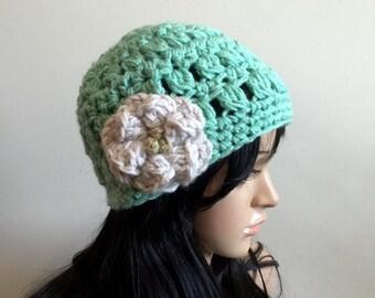 All Season Beanie with Flower Applique - Mint Green Teal White Beige - Open Stitch - Women Girl Teen - Comfortable Stylish - OOAK
