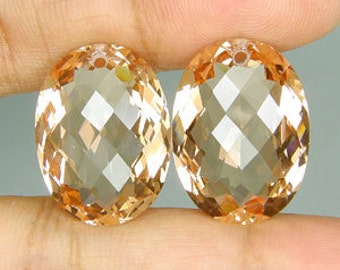 Huge Top Grade AAA Peach Pink Morganite Fancy Faceted Oval Cushion Briolette Beads Pendant Focal Matching Pair