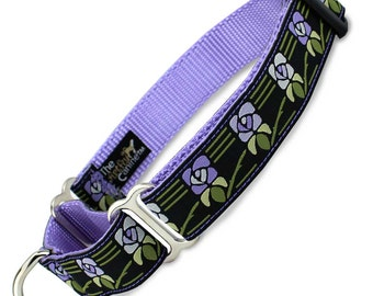 "Vintage Floral Martingale Dog collar, Limited Slip Collar with Fabric Loop, x-small 5/8"", small 5/8"", medium 3/4"", large 1"", x-large 1"" wide"