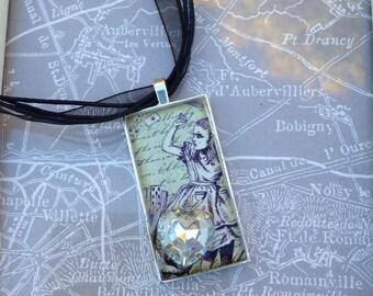 Alice in wonderland inspired  resin pendant
