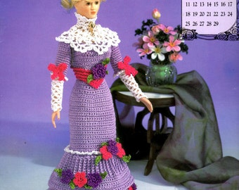 """Crochet Pattern Leaflet - Miss February 1996 - Afternoon Gown - Annie's Calendar Bed Doll Society - Fits 11.5"""" Fashion Doll"""
