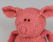 "Carnation Piggy - Jacob Wool Hand Knit Large Stuffed Animal - Toy Pig, 15"" tall"