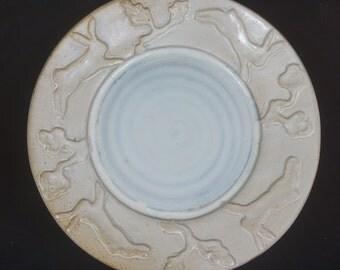 White Rabbit Serving Plate Handmade Pottery