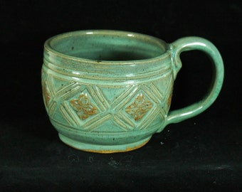Jumbo Green Celtic Mug Handmade Pottery