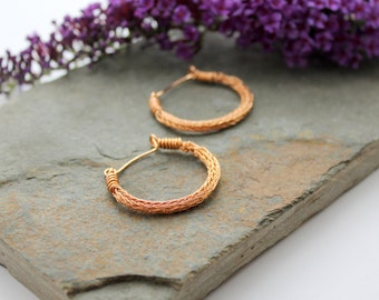 Viking knit Hoop earrings - Bronze wire hoop earrings