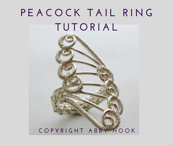Peacock Tail Ring, Wire Jewelry Tutorial, PDF File instant download