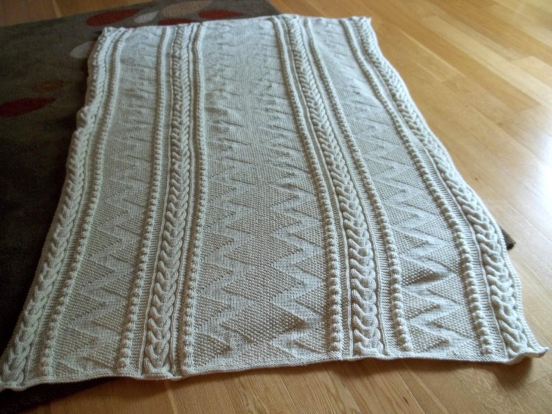 Knit Afghan in ZigZag Pattern in Aran Blanket Throw Afghan