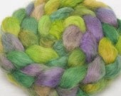 English Wensleydale  hand painted top roving spin felt braid 100g British wool - Melmerby