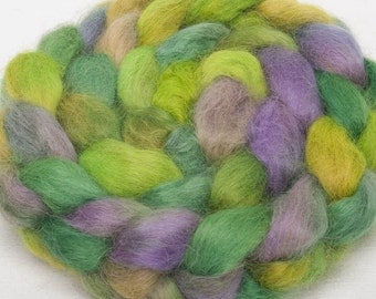 Hand dyed roving, Wensleydale, hand painted top, roving, spin, felt, British wool, Colour; Melmerby