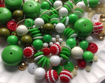 Red,green,white and gold beads