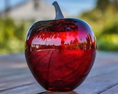Ruby Blown Glass Apple Be...