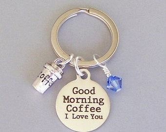 Coffee lover keyring, coffee keyring, I love coffee keychain, birthstone color, gift for coffee lover, unisex gift, coffee addict