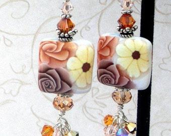 Coffee and cream earrings, polymer clay, Swarovski crystal, cappucino earrings, brown and white earrings, cluster earrings