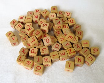 Small Letter Cubes Wood 64 Pieces Red Letters Alphabet Monogram Scrabble Game Cubes Half Inch Beading Assemblage Collage Names