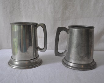 Two Vintage Pewter Steins/Vintage c. 1970s/Engraving Tankards/Glass Bottom Octoberfest Renaissance Steampunk