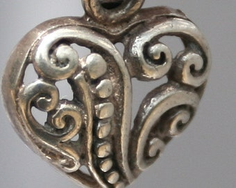 Vintage Sterling Silver Open Work Heart Pendant Charm - Brighton Style