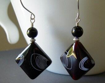 Black Agate Gemstone Earrings, Contemporary Earrings, Abstract Earrings, Gemstone Sterling Silver Drop Earrings
