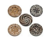 """Extra large button - 5 wooden button 60mm (2 3/8"""") - mixed patterns no. 2  (BB160M2)"""