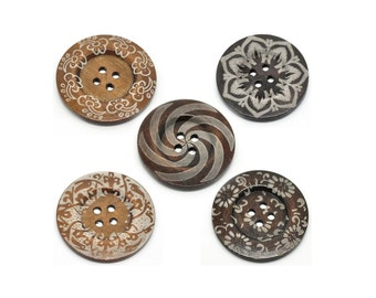 "Extra large button - 5 wooden button 60mm (2 3/8"") - mixed patterns no. 2  (BB160M2)"