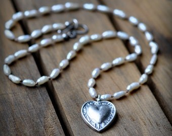 Sterling Silver Pearl Heart Necklace, Oxidised, Sterling Silver Gemstone Charm Necklace, Freshwater Pearl Hand Knotted Necklace
