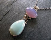 Pendant of Holley Blue Agate and Chinese Turquoise in Sterling Silver