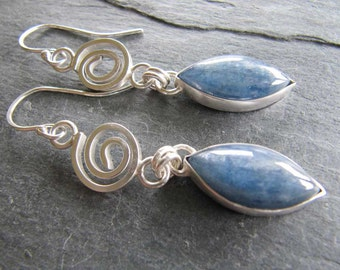 Blue Kyanite Dangle Earrings with Curl in Sterling Silver