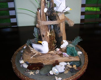 Coastal Decor Seagull and Driftwood Handmade Seashore Sculpture