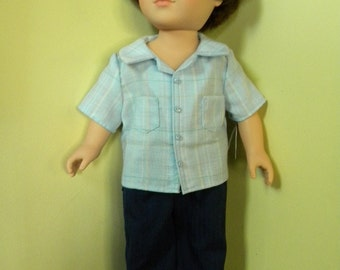 Short sleeved shirt and pants for 18 inch doll
