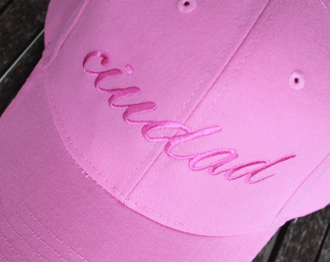 Embroidered Personalize Monogram Sandwich Twill Adult Sized Think Pink Breast Cancer Awareness Bride Bridesmaid Women Ajustable Baseball Cap