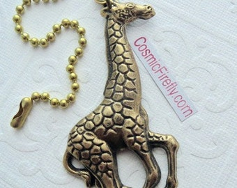 Big Giraffe Fan Pull Steampunk Ceiling Fan Pull Chain Antiqued Brass Metal Victorian Animal Fan Pull