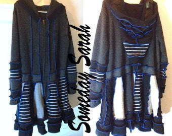 Black and White Recycled Wool Zippered Sweater Coat